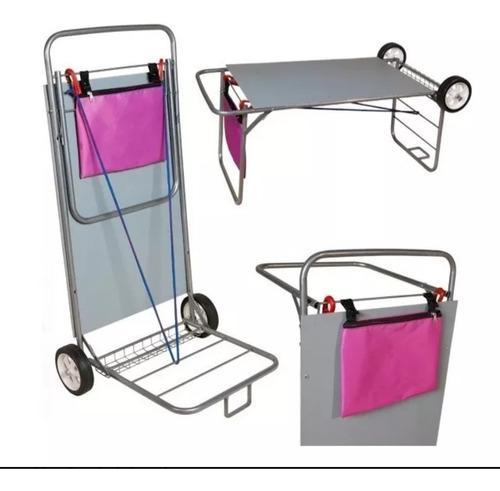 Carro carrito mesa playero porta reposera sombrilla heladera