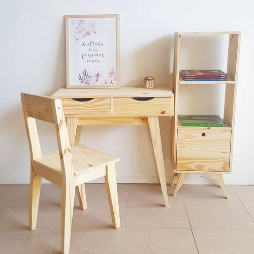 Combo escritorio, biblioteca y silla nordico escandinavo*