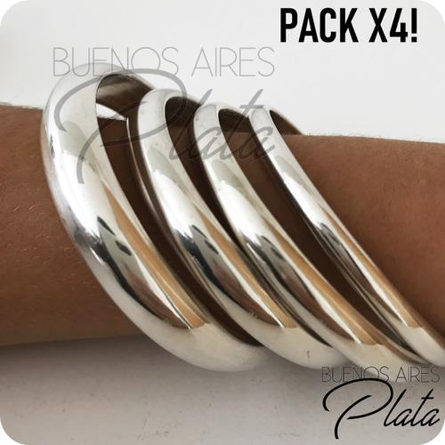 Pack x4! pulseras esclavas plata 925 5mm 7mm 9mm 11mm 10%off