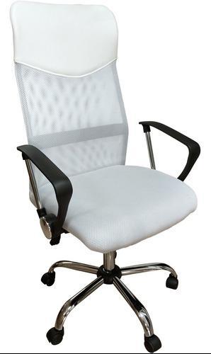 Silla escritorio mesh blanca base metal basculante