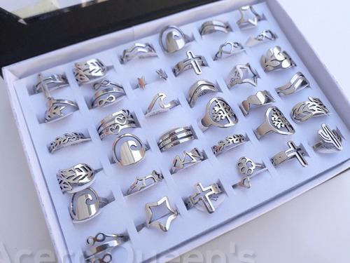12 anillos calados formas acero quirurgico para revender