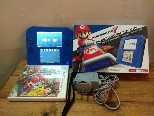 Nintendo 2ds Mario Kart Blue + 2 Juegos