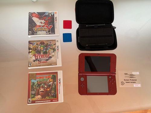Nintendo 3ds Rojo Metálico + Funda Y 3 Juegos