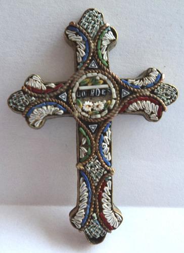 Antigua cruz con venecitas virgen de lourdes italia firenze