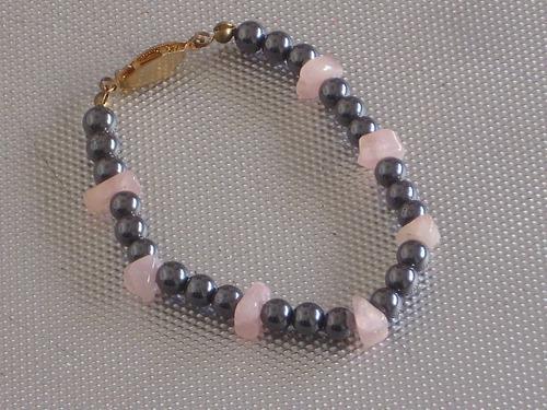 Antigua pulsera hematite y cuarzo rosa retro cº rob76