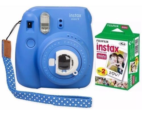 Camara Fuji Instax Mini 9 Azul Polaroid 20 Fotos