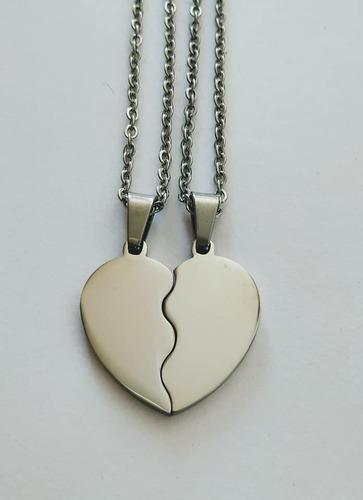 Colgantes acero corazon grabados parejas enamorados