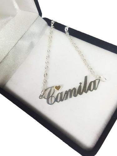 Conjunto plata 925 y oro 18k nombre personalizado mujer