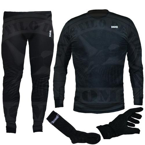 Conjunto termico primera piel camiseta calza guantes medias