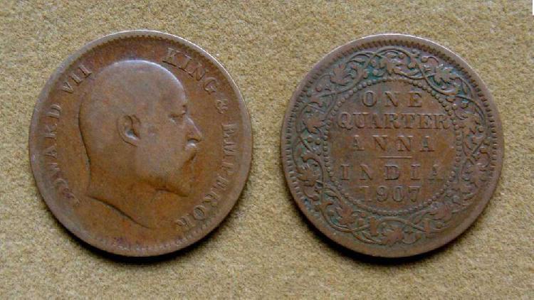Moneda de ¼ de anna india británica 1907