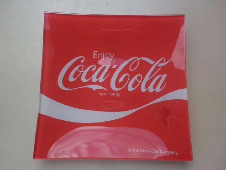 Plato vidrio coca cola cuadrado colección. made in usa