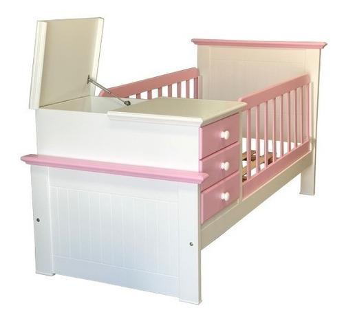 Cuna funcional americana laqueada color blanco y rosa