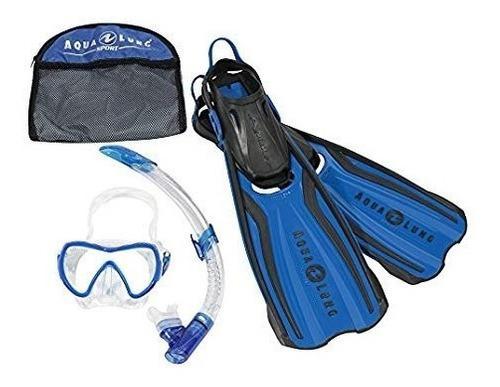 Kit de snorkel aqualung amika regulable pileta snorkel aleta