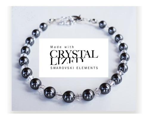 Pulsera cristal swarovski elements cristal y perlas