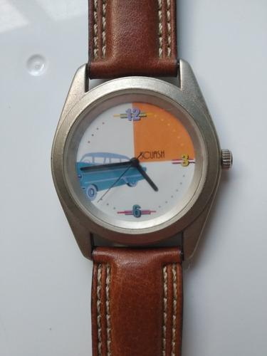 Antiguo reloj cuero genuino vintage scuash de quartz paris