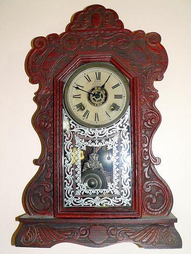 Antiguo reloj de pared ansonia u.s.a. - madera de roble