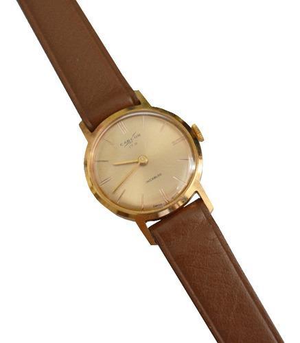 Reloj pulsera mujer carcor a cuerda oro plaque antiguo