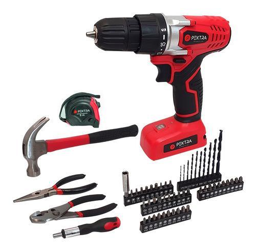 Taladro inalambrico pektra kit set herramientas accesorios