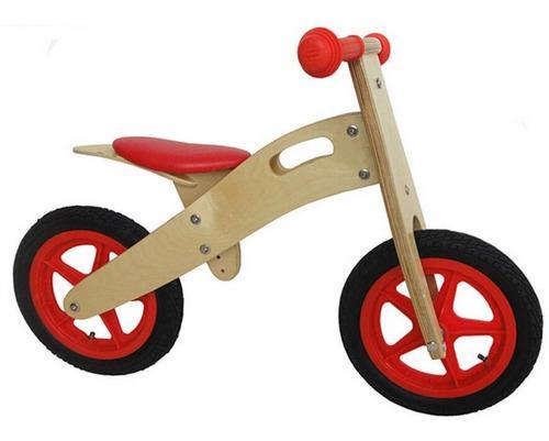 Bicicleta para niños de madera tipo chivita color roja