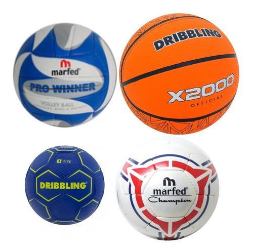 Kit pelotas escuela basquet + fútbol + handball + vóley