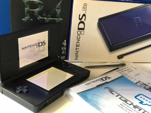 Nintendo ds lite azul cobalto + r4 + memoria + transformador