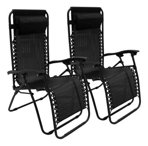 Reposera silla sillon x2 caño acero textileno gravedad cero