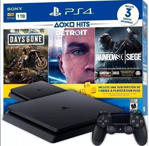 Playstation 4 slim ps4 1tb + 3 juegos bundle hit