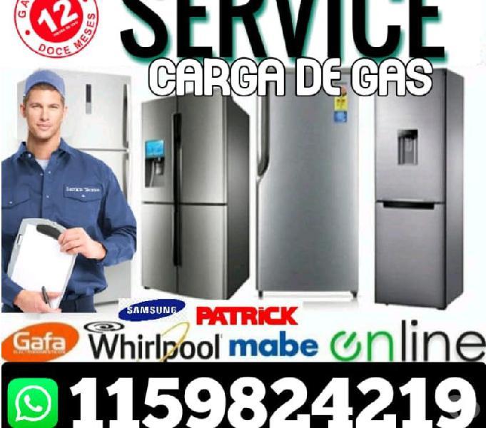 Service heladeras carga gas aire técnico a domicilio caba