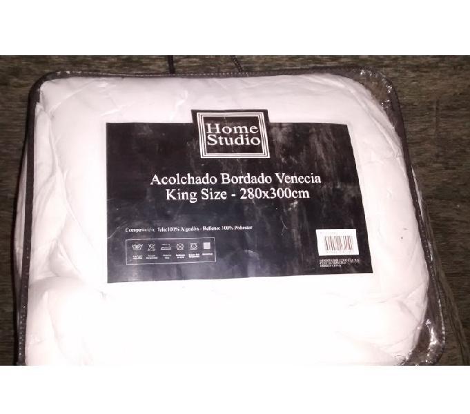 Acolchado cobertor bordado venecia king size beige claro de