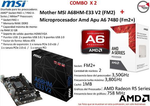 Combo mother msi a68hm-e33 v2 (fm2) + micro amd apu a6 7480