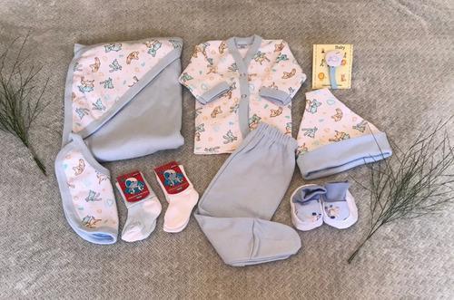 Combo nacimiento 9 prendas algodón con recibidor + caja