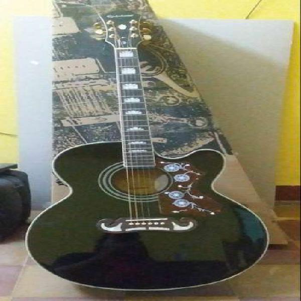 Guitarra electro acústica epiphone ej 200 sce black