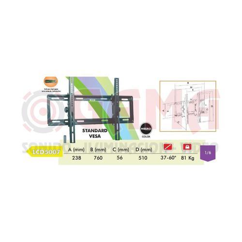 Soporte lcd plasma pared angulo reg. 15° 37 a 60 81kg. ja50