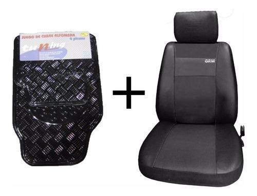 Fundas cubre asiento cuero + cubre alfombras tunning negra 4