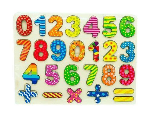 Letras abecedario o números encastre madera didáctico