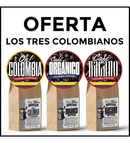 Cafe colombiano, son tres 1/4 kilos, tres variedades