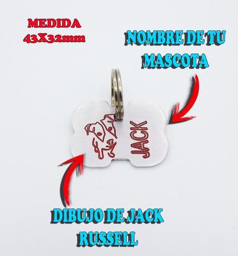 Chapita para perro jack russell personalizada con nombre