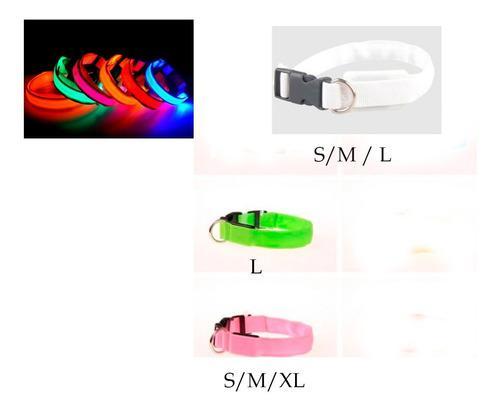 Collar p/ perros gatos con luz led 3 modos pack x 12