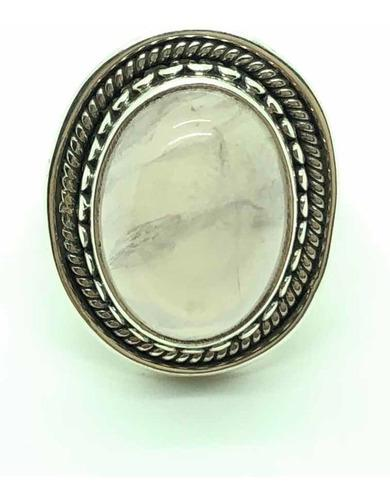 Anillo boho cuarzo rosa plata 925 talle 15 (a765)