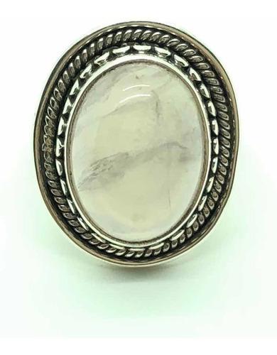 Anillo boho cuarzo rosa plata 925 talle 15 (a765) cuotas