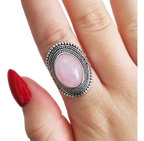 Anillo con piedra cuarzo rosa - acero blanco