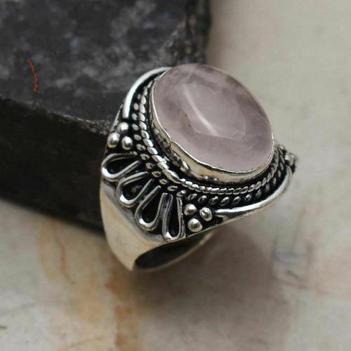 Anillo en plata 925 con cuarzo rosa