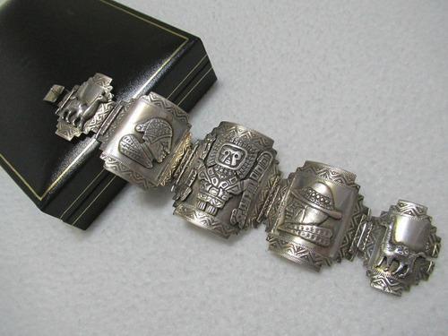 Antigua pulsera hecha a mano plata 925 deidades dioses incas