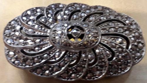 Antiguo broche prendedor plata cuño 900 marcasita 5 cm x
