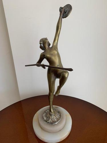Escultura estatua antigua bronce mujer base marmol 40 cm alt
