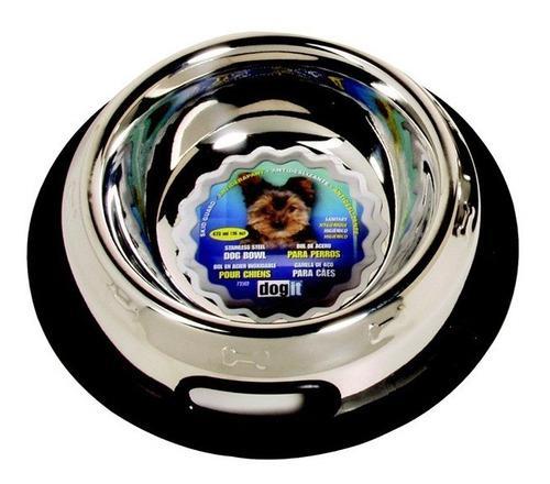 Plato para perros antiderrame de acero inoxidable 473ml