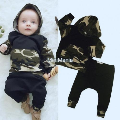 Conjunto kit bebe y niños canguro camuflado