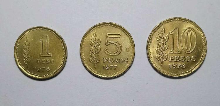 Lote monedas 1 5 y 10 pesos 1976/77/78