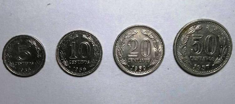 Lote monedas 5 10 20 y 50 centavos 1957/58/59