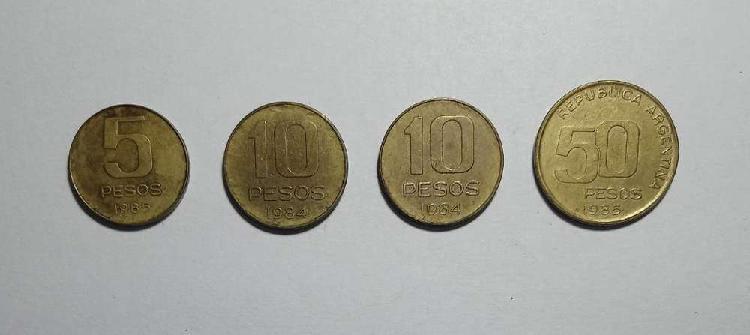 Lote monedas 5 10 y 50 pesos 1984/85